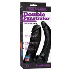 DILDO DOPPIO Naturale Nero 16cm Double Penetrator Vac-U-Lock''