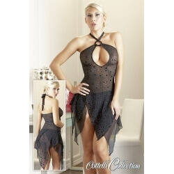 MINI TRANSPARENT DRESS FRINGED SEMI OPEN