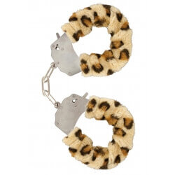 Handcuffs plush color leopard,for erotic games