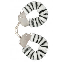 Handcuffs plush color zebra,for erotic games