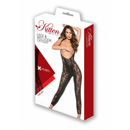 Lace & Wet Look Catsuit Black Os