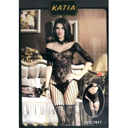 BODY KATIA WITH EMBROIDERY MESH FLORAL BLACK-ONE SIZE