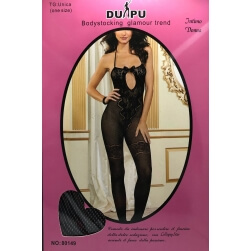 SUIT SEXY CATSUIT NETWORK SMALL WITH EMBROIDERY ONE SIZE