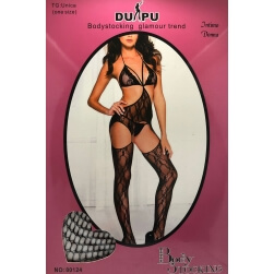 Bodystocking Black semi open