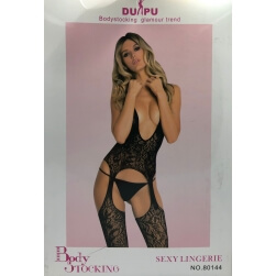BODYSTOCKING SUIT A LOW-CUT BLACK ONE SIZE