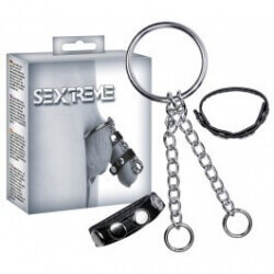 SET RINGS PHALLIC COMBINED WITH CHAIN SEXTREME