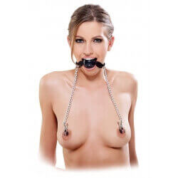GAG GAG WITH CLAMPS NIPPLES FETISH FANTASY