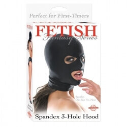 HEAD MASK FF SPANDEX 3 HOLE HOOD BLACK FETISH FANTASY