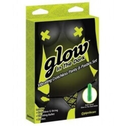 PANTIES VIBRATING GLOW IN THE DARK VIBRATING CROTCHLESS PANTY AND PASTIES SET