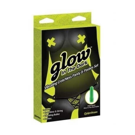MUTANDINE VIBRANTI GLOW IN THE DARK VIBRATING CROTCHLESS PANTY AND PASTIES SET