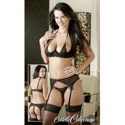 COTTELLI SET GARTER belt Brunette 75B/S 80B/M 85B/L